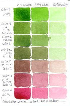 Color Mixing Charts: Watercolor Color Mixing Chart: Sap Green and Rose Madder