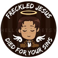 """Attack on Titan - """"Freckled Jesus Died for Your Sins"""" Pinback Button Attack On Titan Season 2, Attack On Titan Meme, Attack On Titan Fanart, Aot Memes, Funny Anime Pics, Anime Stickers, Freckles, Geek Stuff, Fan Art"""