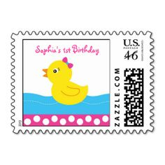 Pink Rubber Duck Birthday Postage Stamps