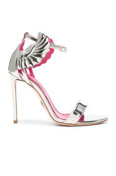 Oscar Tiye Leather Malikah Sandals in Silver Mirror | FWRD