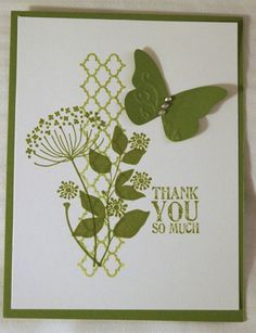 Stampin' Up! ... handmade thank you card ... monohcromatic olive ... Summer Silhouettes stamps in a grouping ...