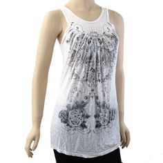 VOCAL Crystal Creme Tank Top Burn Out Shirt Sleeveless Crown Cross Gothic