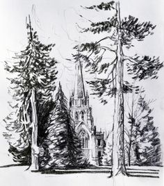 Clumber Church, Clumber Park. Charcoal drawing.https://photos.google.com/album/AF1QipNy4NxlEjjBsLoTeD8EP61uQY521M6HYun0vuuc/photo/AF1QipMhjdO-po4lpcVNyIb2SbK1DlJ9oT5bv9iygHUs