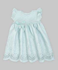 Zulilly is going to bankrupt me! Pale Aqua Ribbon Eyelet Dress by Truffles Ruffles #zulilyfinds