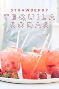 These strawberry tequila sodas are refreshing and super easy to make! They consist of tequila, tonic water (or club soda) and lime juice with a few muddled strawberries. Perfect for a warm summer day! Tequila Soda, Tequila Drinks, Alcoholic Drinks, Beverages, Strawberry Tequila, Strawberry Summer, Kiwi, Alcohol Drink Recipes, Summer Cocktails