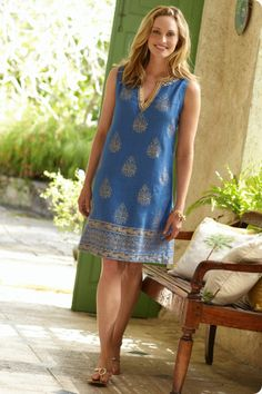 The Southampton Dress - This dress embodies the luxe side of linen including shimmer, gold medallions, and an ornate border