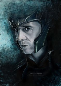 Loki by Jeanne Lui. Portrait made with Prismacolor, background with acrylic.