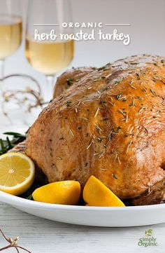 Topped with fragrant spices, this is the ultimate recipe for a traditional roasted turkey. It will make the perfect Thanksgiving centerpiece.   via Simply Organic #OrganicMOments