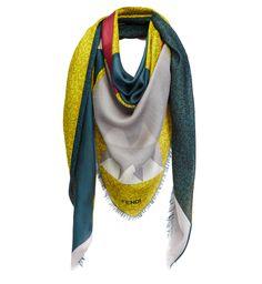 CHAL MOSTRIChal grande de lana y seda con estampado Bag Bugs. Made in Italy.