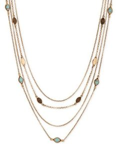 I'm looking for great layering necklaces. Lucky Brand Gold-Tone Multi-Row Bead and Crystal Necklace