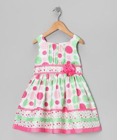 Youngland Pink & Green Polka Dot Dress - Toddler $24.33