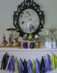 Spooky Soiree. Love these colors instead of the typical orange and black!