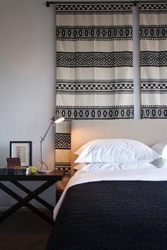 Five ideas for headboards made from wall hangings.