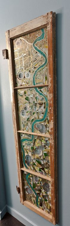 Glass Painting of the Mississippi River from New Orleans to Baton Rouge on Antique Window. $1,600.00, via Etsy. - This is an amazing piece of art!!!!