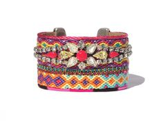 Friendship bracelet cuff with vintage rhinestone bracelet Swarovski and neon pink details -