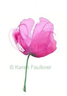 Peony pink watercolor flower giclee fine art by karenfaulknerart, $15.00