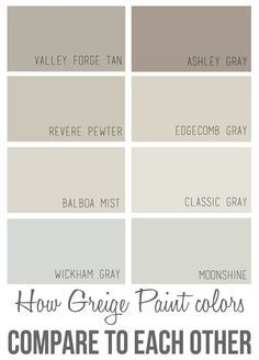 Some of my favorite Benjamin Moore gray paint colors: How Greige Paint Color Compare to Each Other Interior Paint Colors For Living Room, Best Interior Paint, Paint Colors For Home, Interior Painting, Best Neutral Paint Colors, Greige Paint Colors, Wall Colors, Paint Colours, Foyer Paint Colors