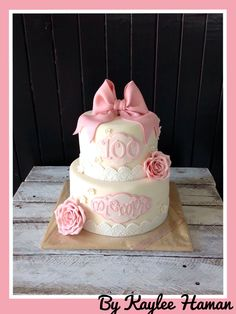 100th Birthday Cake Vintage Lace And Roses Two Tier By Kaylee Haman