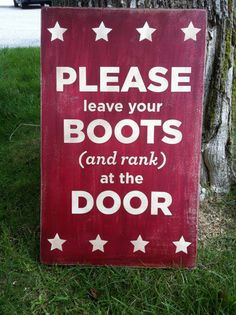 10 x 16 leave your boots and rank hand by WrightAwayDesigns, $19.00