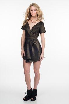 Gold and Black Short Sleeve V Neck Dress with Open Back www.ustrendy.com #UsTrendy