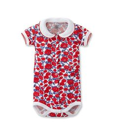 With a Peter Pan collar. What could be cuter? Bodysuit from Petit Bateau Baby Body, French Chic, Baby Clothes Shops, Poppies, Kids Outfits, Bodysuit, Short Sleeve Dresses, Rompers, Shopping
