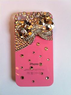 Bling Rhinestone Pink Phone Case Jewel Bow for iPhone 4/ 4S.