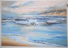 Dreamy Seascape, Ocean Sunset Oil, Oceanscape, Pacific Northwest Artist, Oregon Rose Sunset, Healing Art, Dan Leasure