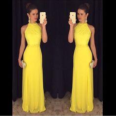 Sheath Floor Length Yellow Party Dress