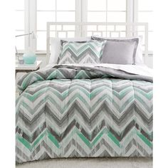 Dylan 3-Pc. Reversible Full/Queen Comforter Set ($30) ❤ liked on Polyvore featuring home, bed & bath, bedding, comforters, grey, gray comforter set, grey chevron comforter, chevron comforter set, grey pillow shams y reversible comforter