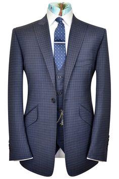 Blu Martini Classic Fit Cream /& Gray Plaid Three Piece Suit With Reversible Vest