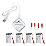Holy Stone 4-In-1 Battery Charger and 4Pcs 3.7V 650mAh Rechargeable Li-Po RC Drone Batteries for HS110,HS200,HS120,HS130