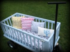 turn your old crib into a wagon