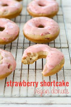 Vegan Strawberry Shortcake Donuts! Strawberry donuts with strawberry frosting! You have to try these- perfect for Spring! | http://www.delishknowledge.com
