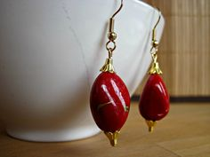 Handmade Red Dangle Earrings Red Drop by SteadyGirlStudios on Etsy Red Earrings, Color Pop, Dangles, Pendant Necklace, Beads, Gold, Handmade, Etsy, Jewelry