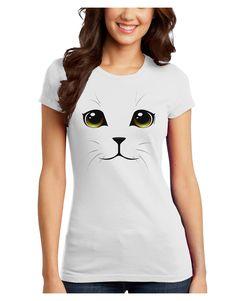 TooLoud Yellow Amber-Eyed Cute Cat Face Juniors Petite T-Shirt