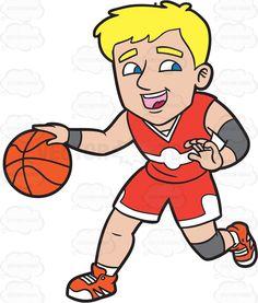 A Happy Male Basketball Player Dribbling A Ball #cartoon #clipart #vector #vectortoons #stockimage #stockart #art