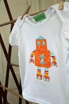 Custom robot appliqued t-shirt
