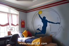 Large Basketball Player With  Ball Wall Decal  Sports by Round321, $55.00
