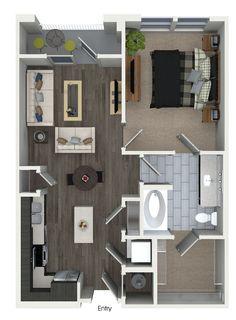 1 bedroom 1 bathroom floorplan at 555 Ross Avenue Apartments in Dallas, TX.