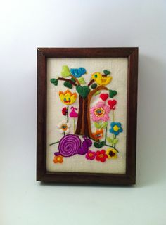 Vintage Retro Groovy Wall Hanging Bright Colors 1970s by Comforte, $10.00
