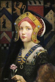 Eleanor Fortescue-Brickdale - Head of a tudor girl