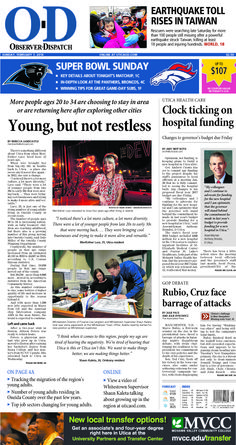 The front page for Sunday, Feb. 7, 2016: Young, but not restless