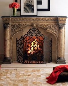 Updating an old fireplace screen is a cheap & easy fix!