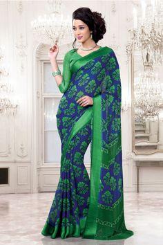 casual printed green saree