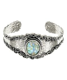 This Roman Glass & Sterling Silver Filigree Cuff is perfect! #zulilyfinds