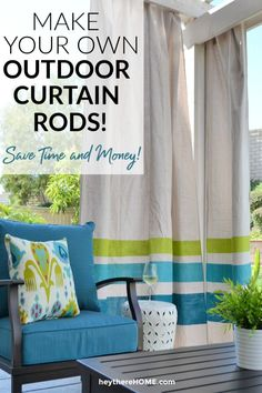 Save time and money with this easy DIY outdoor curtain rod tutorial! Pergola Curtains, Outdoor Curtains, Pergola Swing, Diy Curtains, Outdoor Garden Furniture, Diy Furniture, Outdoor Decor, Outdoor Living, Outdoor Stuff