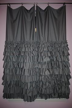 DIY Idea, Ruffled Curtains...I love this except i would do strap backs and i would add 2 rows of ruffles up top as well. very cute for a little girls room!