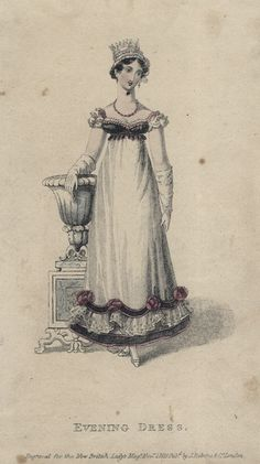 November evening dress, 1818 England, British Lady's Magazine