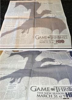 "This ""Game Of Thrones"" Ad Is The Best Print Ad Of The Year in the New York Times - Creative Advertising Creative Advertising, Print Advertising, Advertising Campaign, Marketing And Advertising, Ads Creative, Creative India, Street Marketing, Guerilla Marketing, Ecommerce Webdesign"