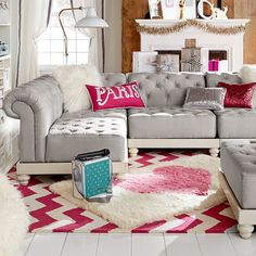 Cushy Roll-Arm Collection | PBteen oh wow it LOOKS comfy I'm loving this sectional